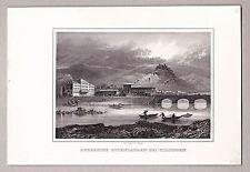 Botenlauben u. Bad Kissingen. Original Stahlstich  von J.Poppel 1846