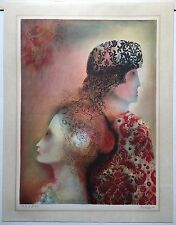 Antique SURREALISM Surreal PORTRAIT Man Woman Profile PRINT Dali Style SIGNED