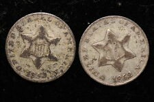 1852 & 1853 United States. Three Cents (Silver) 2 coins.