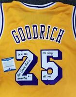 GAIL GOODRICH Signed Lakers Jersey Gold + 5 Inscriptions HOF ~ Beckett BAS COA
