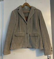 Per Una Cord Jacket Blazer Size 16 Beige Cotton