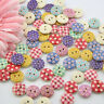 100pcs 15mm Mixed Round Dot Pattern 2 Holes Wood Buttons Sewing DIY Scrap Sell