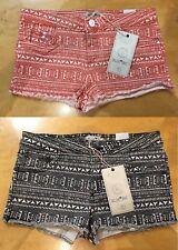 Blue Inc Brave Soul Impresión Azteca Tribal Denim Shorts Hot Pant Naranja/Negro 8-16