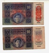 Austria  10 corone  1915 e 1919   MB/BB   Poor/G   Pick 19 e 51   lotto 1658