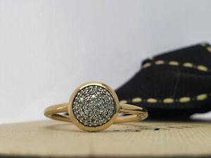 Links OF LONDON Diamant Pave Runde Ring Gelb Gold Vermeil Silber Größe P