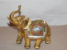 NEW AFRICAN ASIAN GOLD LUCKY ELEPHANT & PROSPERITY BELLS STATUE FIGURE TRUNK UP