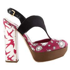 42101 auth MIU MIU raspberr pink PRINTEDE satin Platform Sandals Shoes 36.5 NEW