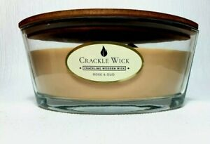 Crackle wick large jar candle.485g Rose & oud. 2 crackling wood wick