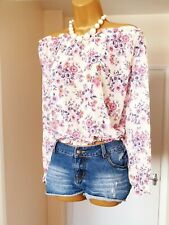 White Pink Purple Floral Bardot Off Shoulder Floaty Summer Blouse Top - Size 14