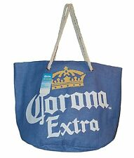 Corona Extra Large Toya Straw Beach Bag Blue
