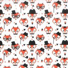100% Cotton Poplin Printed Gentleman Fox Quilting Dress Fabric Material 112cm
