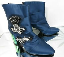 Zara Woman blue satin jewelled ankle evening special occasion boots - UK 4 EU 37