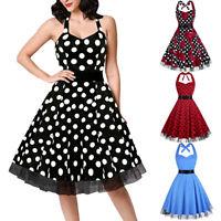 Women's Vintage 50S Polka Dot Swing Retro Rockabilly Housewife Party Ball Dress