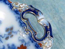 RARE ANTIQUE IMARI Ironstone Mulberry Cabinet Plate Cobalt Gold Blue Rust