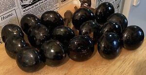 Vintage Lot of 16 Black Porcelain Door Knobs and some Hardware