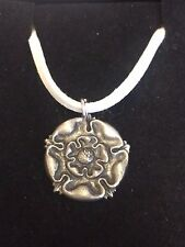 "TUDOR ROSE DR54 Made From Fine English Pewter On a 18"" White Cord Necklace"