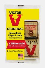 New! 2 Pack VICTOR Mouse Snap Trap Kills Mice Rodent Pest Control Wood Base M150