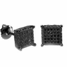 1.20Ct Round Cut Black Diamond Cluster Stud Earrings 14K Black Gold Finish