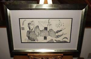 GUNTER TEMECH NYC Art Original Signed Pen Ink, Cubist modernist surreal abstract