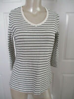 ST. JOHN'S BAY TOP WOMEN'S SMALL 3/4 SLEEVE STRIPED V-NECK IVORY,BLACK & GRAY