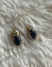 Sapphire and Diamond 14k yellow gold earrings