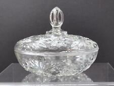 Anchor Hocking Covered Candy Dish Bowl Glass Prescut Clear Star Fan About 7 1/8""