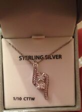 Always & Forever Sterling Silver Pendant With 2 clear stones 1/10 CTTW NEW