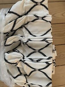 Shade Store White With Navy Blue Embroidered Vine Diamonds Drape / Curtain NEW!
