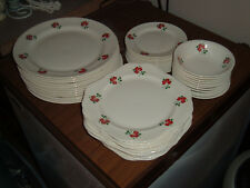 Rare 66 Piece Vintage Homer Laughlin Eggshell Nautilus Red Clover Dish Lot Set