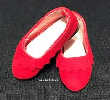 """Christmas Dress Shoes for 14"""" Wellie Wishers Doll RED SUEDE Scalloped Slip-On"""
