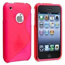 TPU Gel S-Shaped Case foriPhone 3G / 3GS - Hot Pink