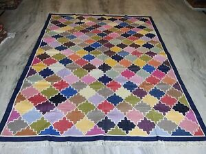 Handmade Vintage Cotton Patchwork Luxury Rug Reversible Large 8'x 10 Feet Dn-148