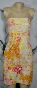 J, CREW Yellow Gold Pink Sunshine Peony Coccinelle Strapless Dress 2 Lined