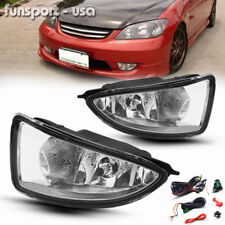 for 2004-2005 Honda Civic 2/4Dr JDM Clear Bumper Fog Light Lamp+Harness w/Switch