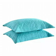 Embroidery Pillow Shams Decorative Microfiber Standard size(set of 2) turquoise