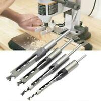 4pc Square Hole Saw Auger Mortise Drill Bit Set Mortising Chisel S3B1