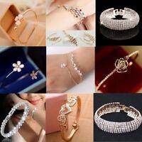 Elegant Women Gold Silver Bangle Cuff Rhinestone Crystal Bracelet Jewelry Gift