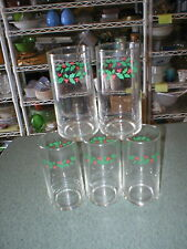 """5 Corelle Christmas Winter Holly Days Drinking Glasses Tumblers 6"""" T x 2 5/8"""" TD"""