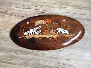 Schönes Wandbild Intarsien Holz Bein Elefanten