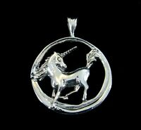 Handcrafted Solid 925 Sterling Silver Round UNICORN Pendant