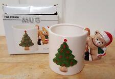 NEW Fine Ceramic 10 Ounce Christmas Tree and Bear Mug