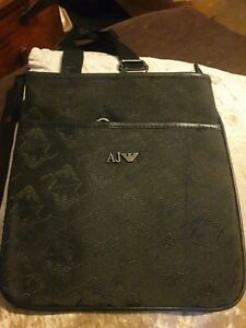 Armani Jeans AJ Mens Black Messenger Man Bag Pouch Crossbody