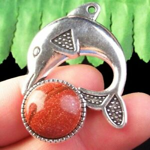 K76273 Gold Sand Stone Carved Tibetan Silver Dolphin Pendant Bead