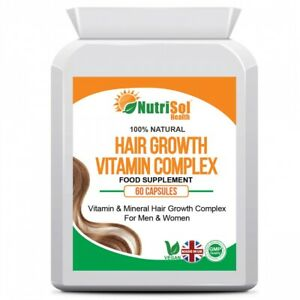 NutriSol Health Hair Growth Vitamin Complex for Men & Women 60 Capsules Vegan