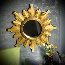 Dollhouse wall mirror - sunburst/starburst golden frame miniature 1:6 - Barbie