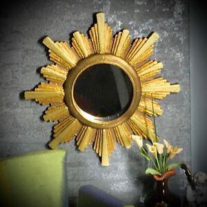 1:6 Dollhouse wall mirror sunburst/starburst golden frame miniature - Barbie