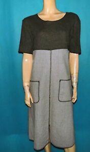robe SISLEY hiver gris /kaki évasée manches courtes laine Taille : Medium