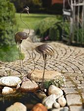 Gartenfigur Vogel - Metall Fischreiher 2er-Set  stehend und gebückt