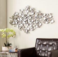 Silver Metal Wall Decor metal ring wall decor circle silver gold hanging art sculpture