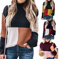New Women Ladies Pullover Patchwork Sweater Sweatshirt Casual Long Sleeve Tops